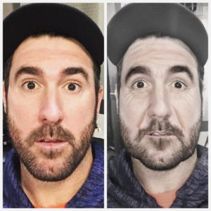 Justin VerlanderVerified account @JustinVerlander Oct 29 Hootlet More Here's a #beforeandafter photo of me from that game. OMG!!!! what a crazy game!!! Took 40ish years off my life.